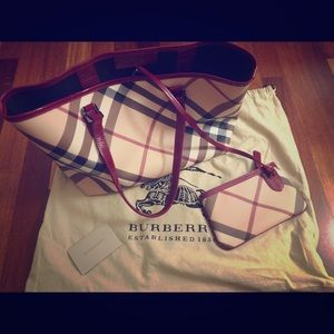 Burberry checkered canvas tote bag